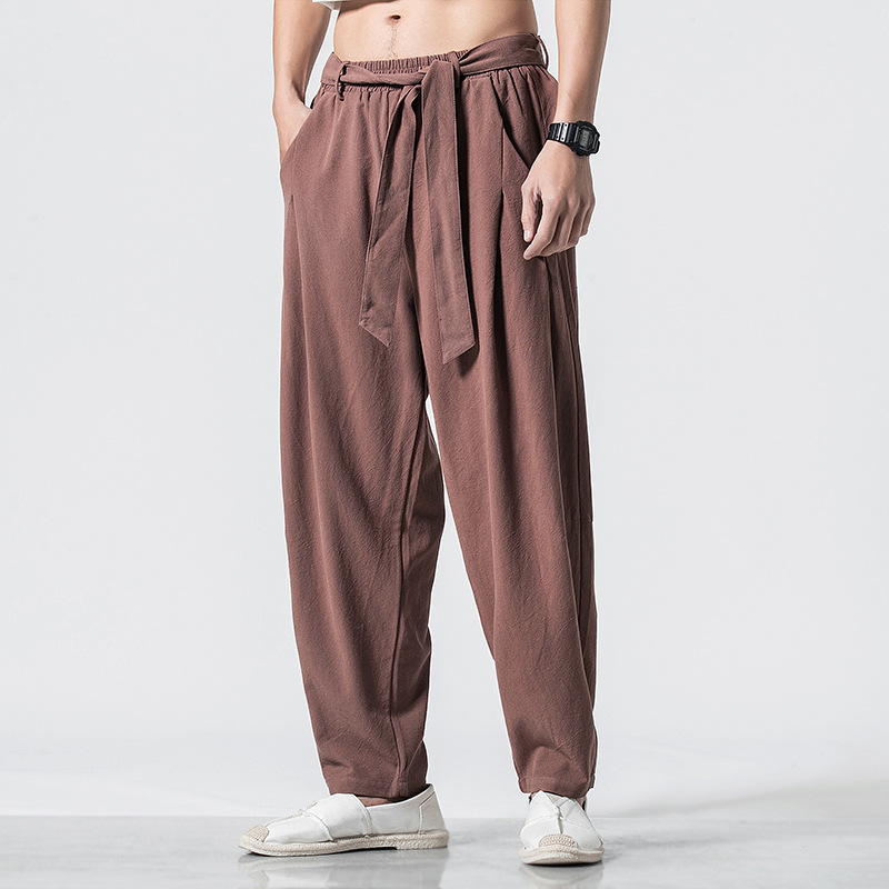 2019 Spring And Summer New Style Chinese-style Loose Cotton Linen Casual Pants Solid Color Of Belt Retro Large Size Harem Pants