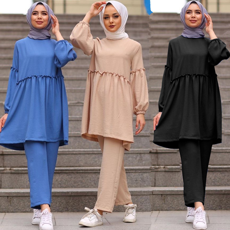 Ramadan Two Piece Set Muslim Women Sets Arab Turkey Islam Solid Tops and Long Pant Islamic Clothing Abaya Musulman Ensembles