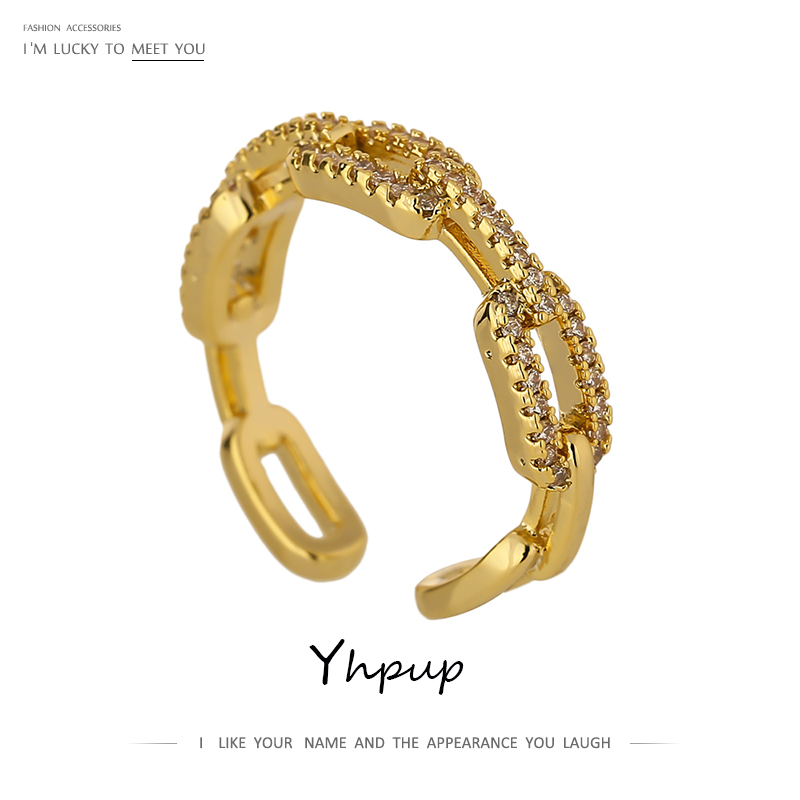 Yhpup New High Quality Chain Cubic Zirconia Ring for Women kpop Engagement ring Jewelry Bagues Pour Femme Anniversary Gift 2021 1
