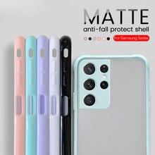 Camera Shockproof Matte Case Voor Samsung Galaxy S21 Ultra 5G Note 20 S20 Plus S 21 S21Ultra S20Ultra Kleurrijke frame Cover Fundas