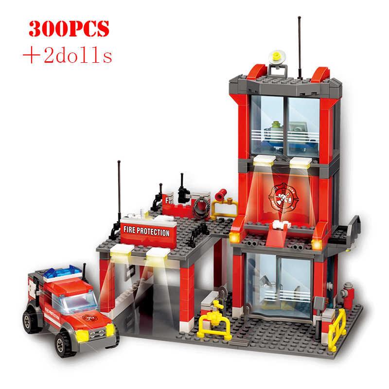 עיר בניית אש תחנת כבאים הצלת אש משאית משטרת אבני בניין להאיר לבני ילדי צעצועי ילדי מתנה