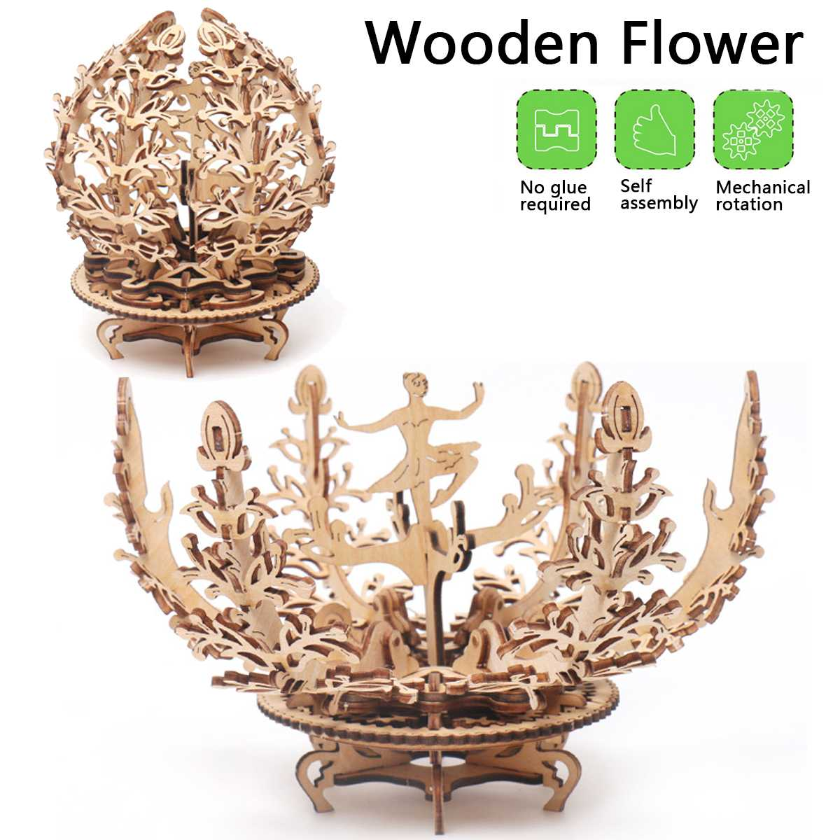 3D Creatives Wooden DIY Puzzle Toy Dancing Girl Flower Model Three-Dimensional Puzzle Decoration Valentine'S Day Birthday Gif