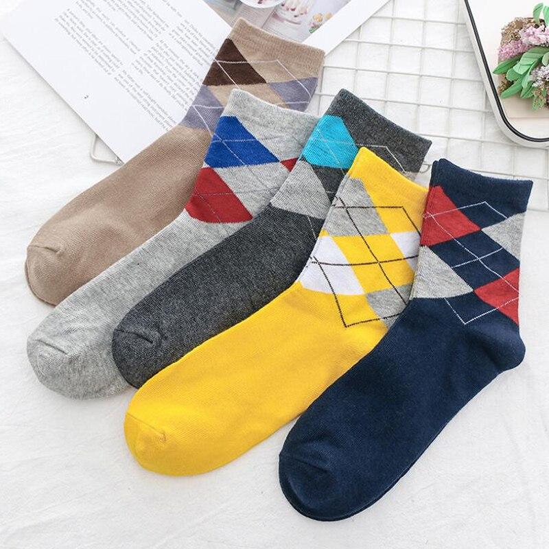 5pairs/lot Rhombus Cotton Men's Socks Fashion Long Socks Crew Casual Business Happy Socks Man Soft Warm Autumn Calcetines Hombre