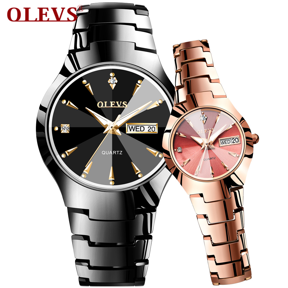 Fashion Jewelry Men's Wristwatch Tungsten Carbide Calendar Date Weekday Quartz Couple Watches For Womens Waterproof Clock Hours