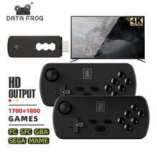 داتا الضفدع 4K TV ريترو لعبة فيديو وحدة التحكم Y3 3500 + ألعاب ل FC/SFC/GBA/SEGA/MAME HD اللاسلكية المحمولة بادئة 6 مفتاح 2 عصا التحكم