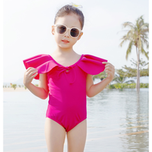 2021 Summer Baby Girl Cute Swimsuit New Baby Solid Color One-piece Swimsuit All-in-one Ruffled Bowknot Children's Swimsuit
