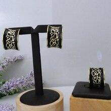 Yuminglai joyería rusa exquisito traje negro conjuntos de joyas pendientes y anillos FHK7551