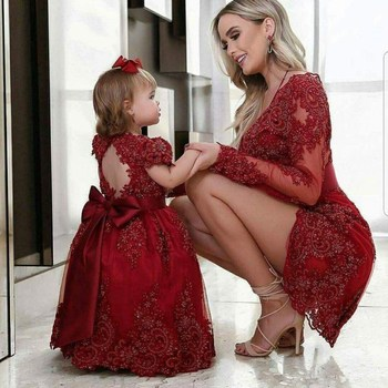 Modest Red Lace mother of the bride dresses sheath short beaded formal evening party gowns Long Sleeves Daughter For Mother new red champagne flower girl dresses long sleeves lace satin mother daughter dresses for children christmas party prom gown
