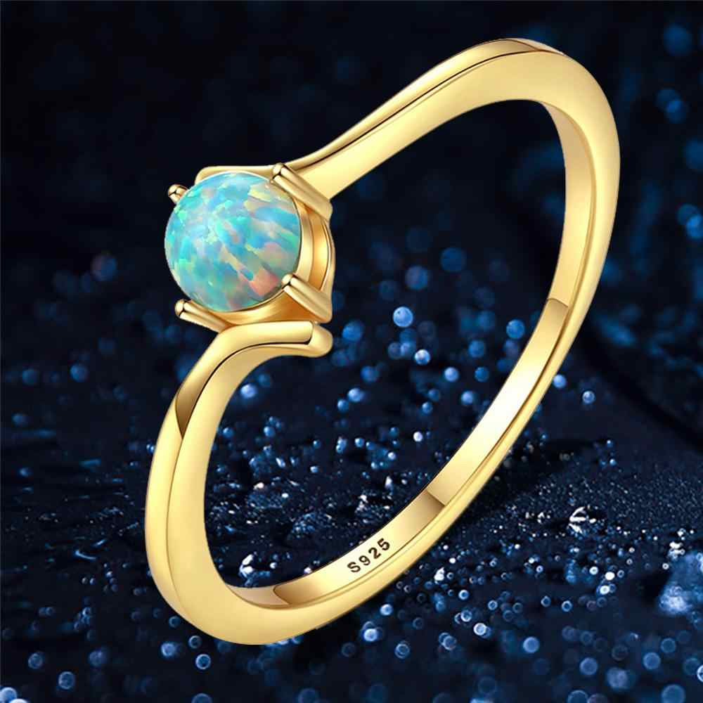 Green Blue Opal Rings Silver 925 Jewelry Wedding Engagement Rings Gift Rings For Women  Ring Anniversary Gifts