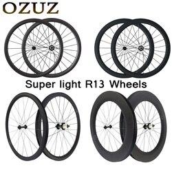 Супер светильник Powerway R13 карбоновые колеса для велосипеда 24 38 50 88 мм Глубина клинчер трубчатые колеса для шоссейного велосипеда 700c 23 мм Пара ...