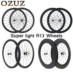 Super light Powerway R13 carbon bicycle wheelset 24 38 50 mm depth clincher tubular road bike wheels 700c 23mm Bicycle pair