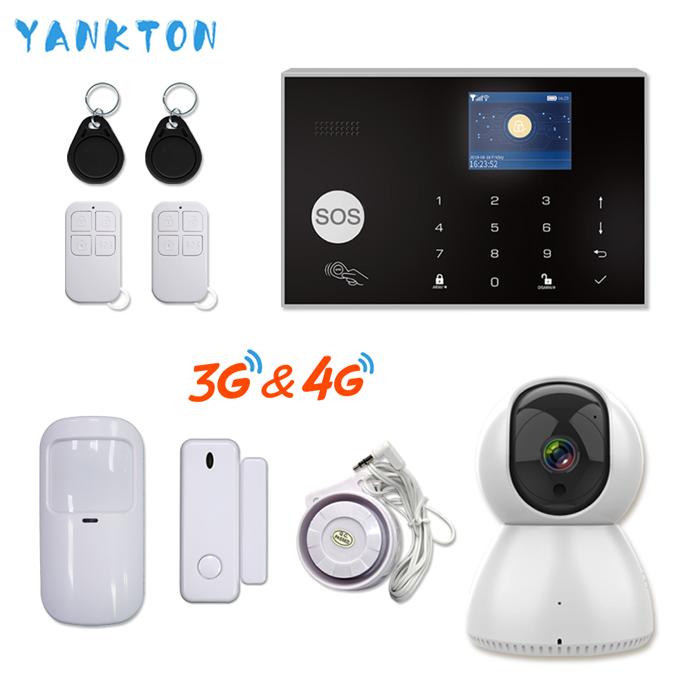 Tuya 433MHz WiFi 3G&4G Home Burglar&Security Alarm System APP Remote Control Wireless Alarm Host Kit With IP Camera Baby Monitor
