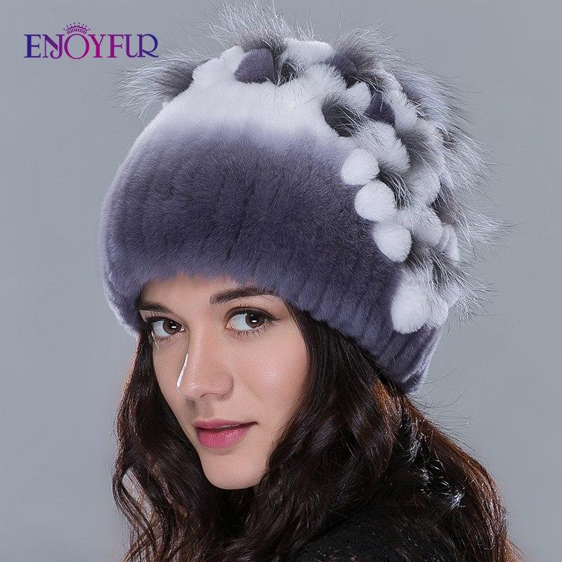 ENJOYFUR Winter fur hats for women knitted rex rabbit fur caps with fox fur flowers striped fur   beanies   female casual hats