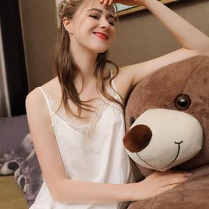 Image 3 - Falda larga Sexy de verano para dormir, 100% blanca de algodón, ropa de dormir con tirantes finos, camisón de noche sin mangas para mujer, camisón de lencería