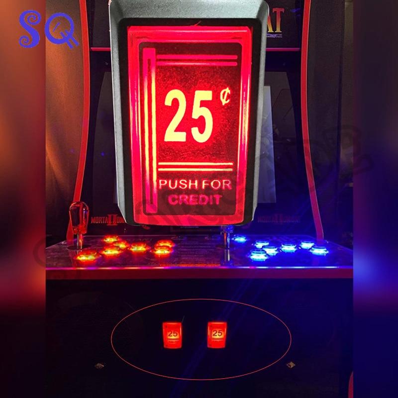 1 Uds 25 centavos rojo crédito Arcade juego de Arcade de empuje con LED Botón con Micro interruptor
