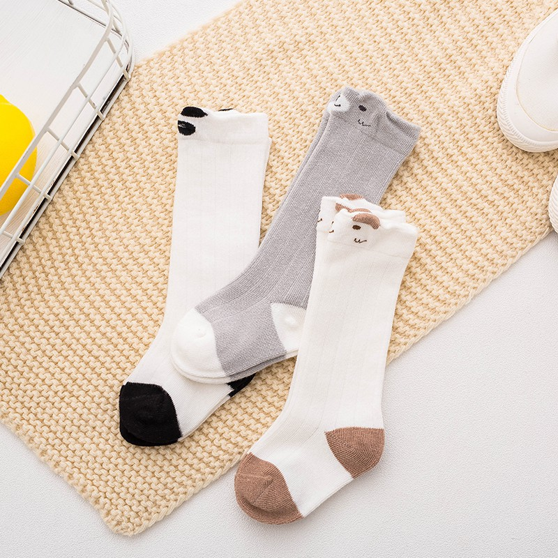 0-3T  3 Pair/set Baby Boy Girl Cotton Soft Anti-slip Socks Cute Children Cartoon Sock Leg Warmers #m