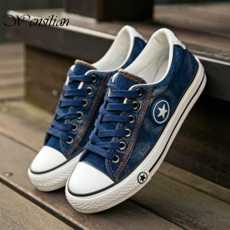Denim Sneakers Men Vulcanize Shoes Lace Up Canvas Trainers  Men Casual Shoes Anti Slip Sneaker Male Flats Tenis Masculino 2020