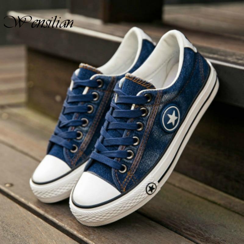 Denim Sneakers Men Vulcanize Shoes Lace Up Canvas Trainers  Men Casual Shoes Anti Slip Sneaker Male Flats Tenis Masculino 2020