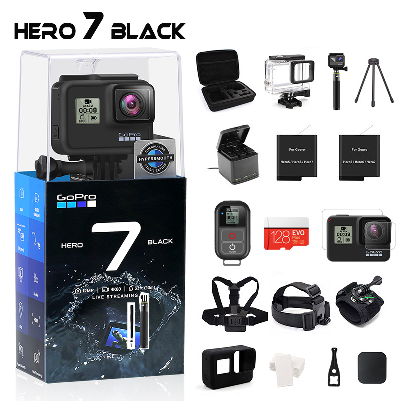 GoPro HERO 7 Black Waterproof Action Camera with Touch Screen Sports Cam Go Pro HERO 7 12MP Photos Live Streaming Stabilization 1