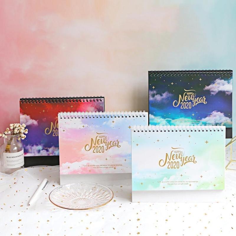 1piece 2020 Desk Calendar Fantasy Colorful Schedule Memo Coil Plan Paper Calendar Table Standing Desktop Planner Schedule K9J5