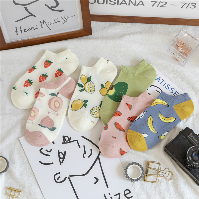 SP&CITY Cartoon Fruit Women's Socks Comfort Cotton Thin Short Socks Breathable Cute Print Sweet Socks 2020 Summer Daily Simple