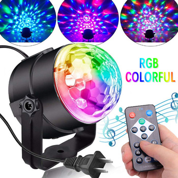 3LED RGB Laser Projector Effect Lamp 3W Sound Activated Stage Strobe Lights Rotating Disco Ball DJ For Christmas KTV Music Show stage lamp dj disco crystal rotating light magic ball for ktv bar home 15 color voice activated party effect sound music