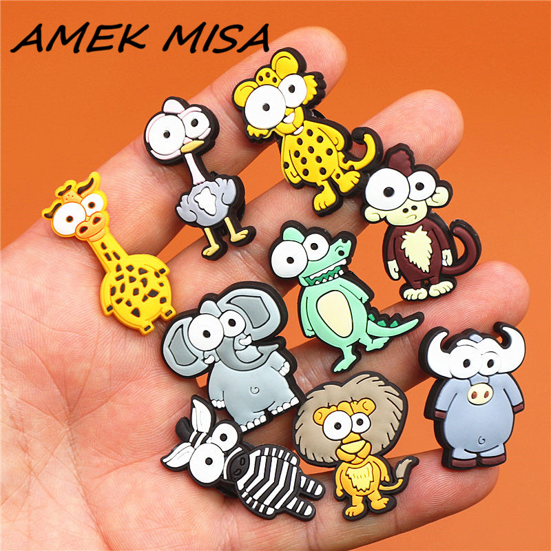 1pcs Funny Animals PVC Shoe Charms Elephant Shoe Accessories Bison Shoes Decoration Buckles Fit Bands Croc JIBZ Kid's Gifts U28