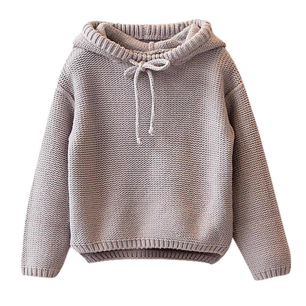 Kids Sweater Girls Boys Hooded Knit Crochet Long Sleeve Sweater Autumn Fashion Solid Tops Clothes Outfits For 2 6T ChildrenSweaters   -