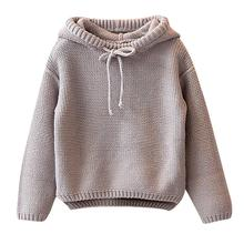 Kids Sweater Girls Boys Hooded Knit Crochet Long Sleeve Sweater Autumn Fashion Solid Tops Clothes Outfits For 2 6T Children