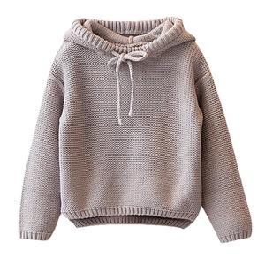 Image 1 - Kids Sweater Girls Boys Hooded Knit Crochet Long Sleeve Sweater Autumn Fashion Solid Tops Clothes Outfits For 2 6T Children