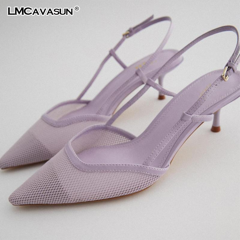 LMCAVASUN New women's shoes Light violet mesh cat heel high heels women stiletto heels