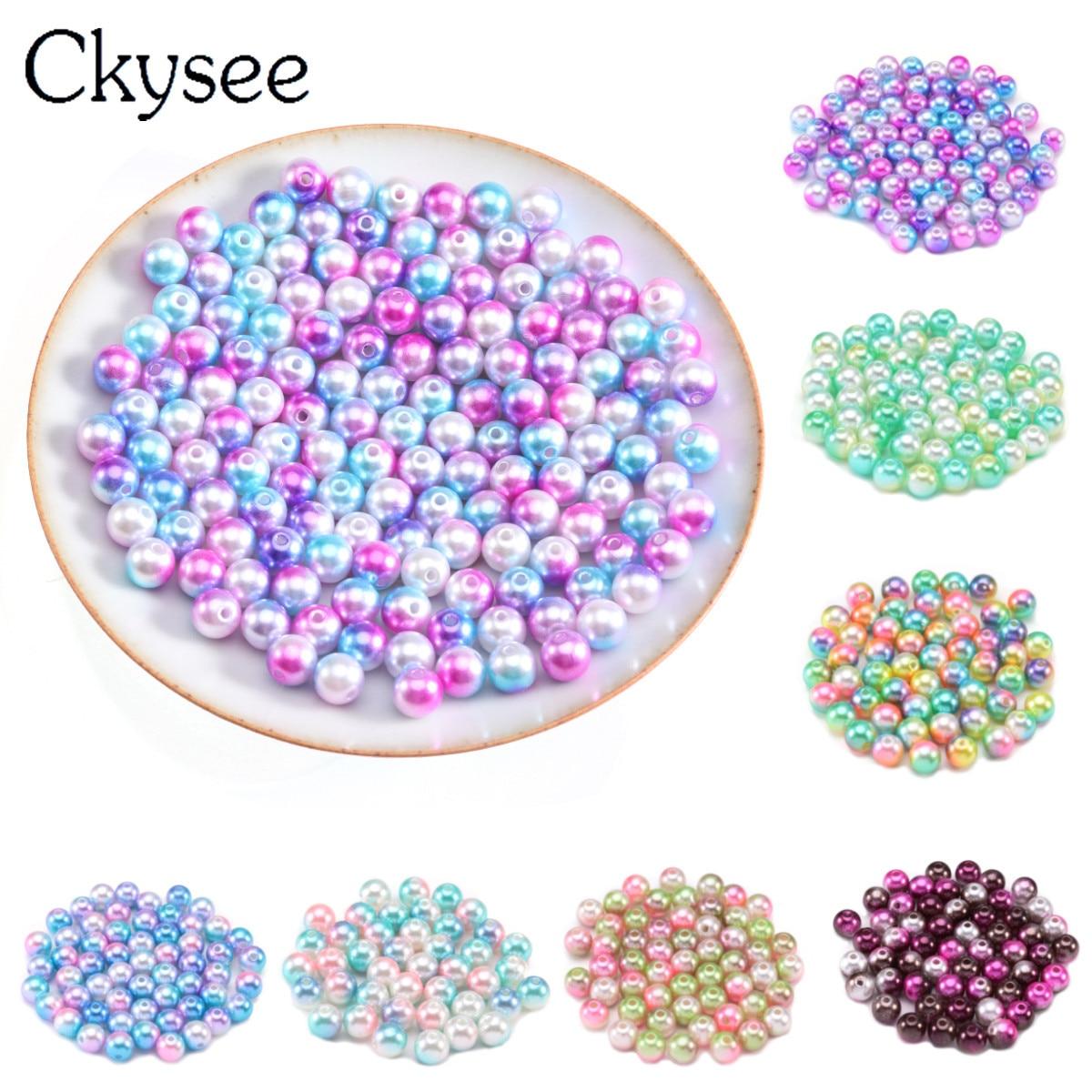 Ckysee В переменного тока, 50-400 шт./лот имитация жемчуга Beads3 4681012 мм подходят ожерелье Русалка градиент жемчуг бусины для бижутерии, материал для...
