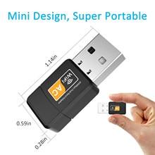 Mini usb wifi adaptador 802.11b/g/n antena 600mbps usb2.0 receptor sem fio dongle rede lan cartão para portátil tv caixa wi-fi