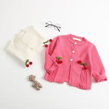 Baby Girls Cardigan Autumn Cotton Sweater Top Baby Children Clothing Girls Cherry Knitted Cardigan Sweater Kid Spring Clothes цена 2017