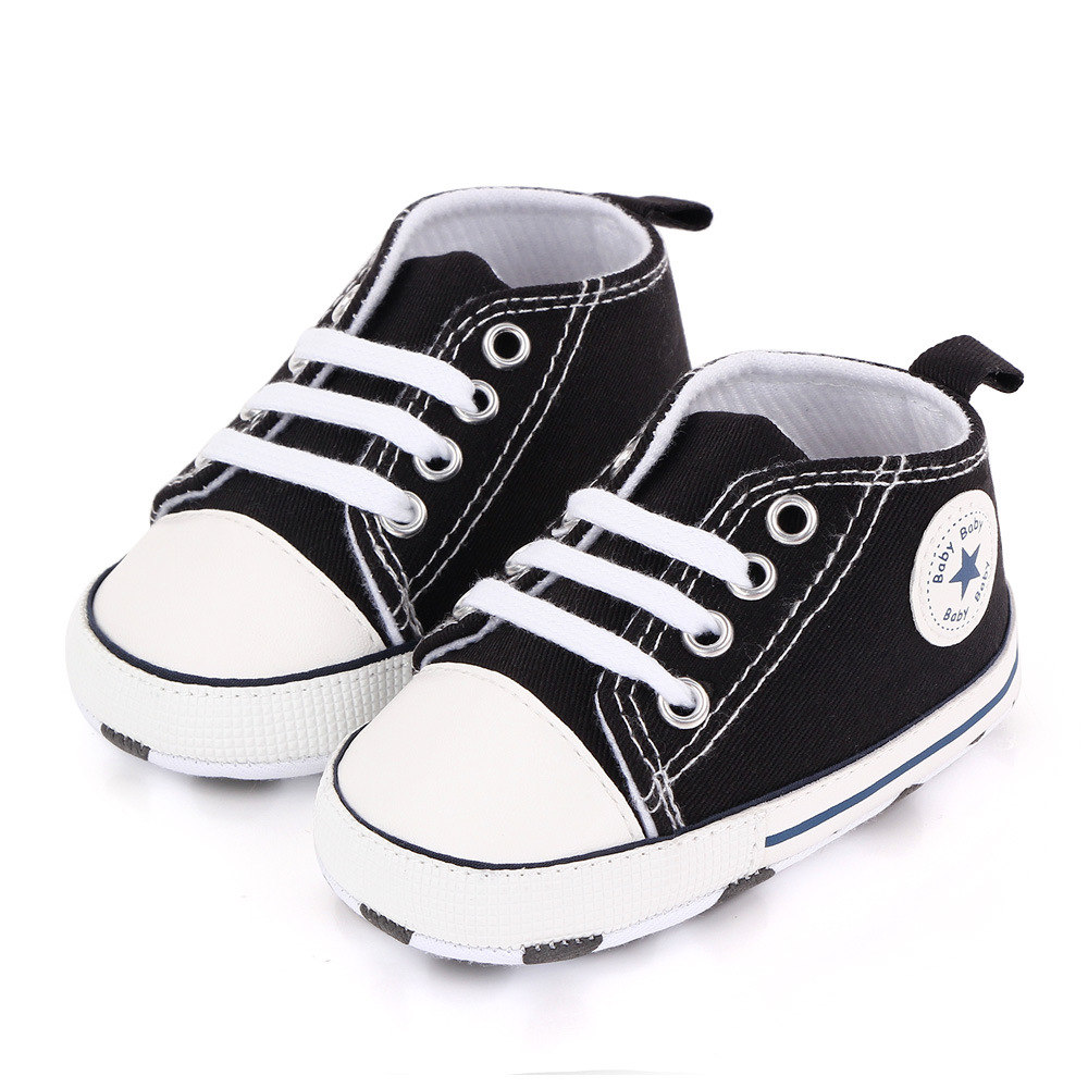Baby Canvas Classic Sports Sneakers Newborn Baby Boys Girls Print Star First Walkers Shoes Infant Toddler Anti-slip Baby Shoes 6