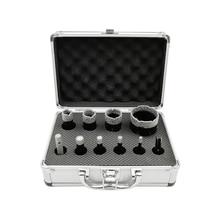 SHDIATOOL 10pcs/Kit 5/8 11 Thread Boxed Vacuum Brazed Diamond Dry Drilling Bits Kit No.1 For Porcelain Tile Granite Marble Stone