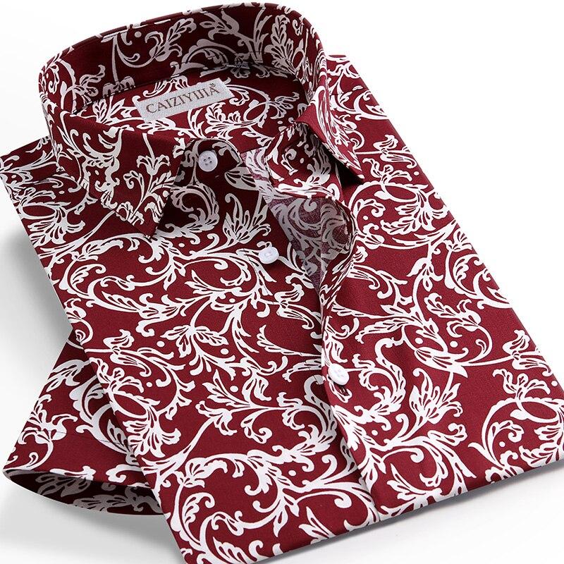Men's Summer Floral Printed Short Sleeve Tops Blouse Shirt Pocket-less Design Standard-fit Thin Beach Hawaiian Shirts
