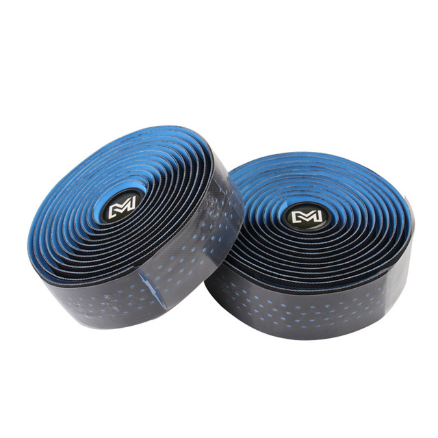 1 Pair PU Leather Non-Slip Bandage Absorb Sweat Bicycle Grips Cork Cycling Breathable Bar Tape Wrap Handle Belt Road Bike 3