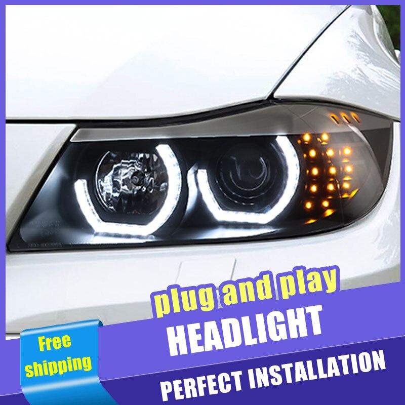 2 шт., светодиодный автомобильный стиль, фары для BMW 3 серии e90 06 12 для e90, светодиодный головной фонарь с линзами DRL, двойной луч, H7, ксеноновая Б