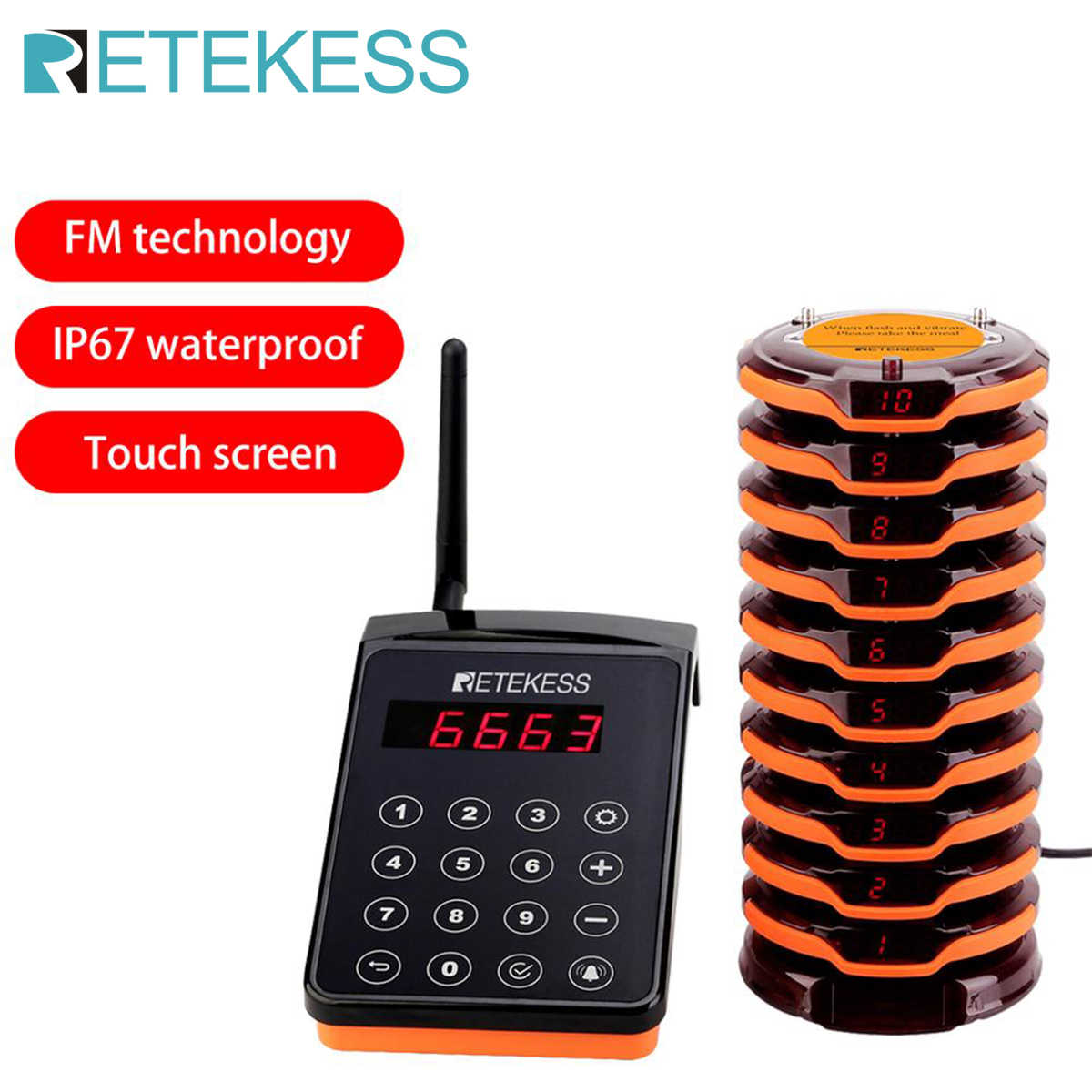 Retekess TD156 Wireless Paging Queue System waiter calling system 10 Coaster Pagers wireless beeper buzzer system for Restaurant