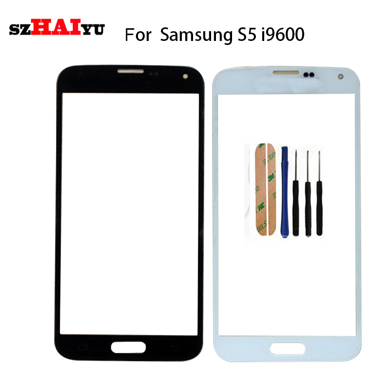 Panel de pantalla frontal de cristal para lente exterior SZHAIYU para Samsung Galaxy S5 I9600 G900 G900F G900H G900I S5 Mini G800 G800