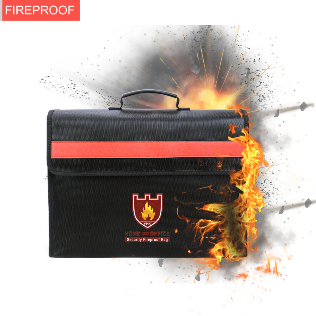 Fireproof Escaping Package New Liquid Silica Black Portable File Bags High Quality Security Temperature Fireproof Waterproof Bag