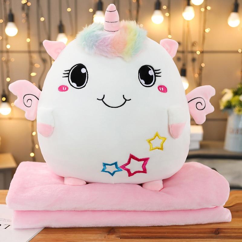 Soft Colorful Stuffed Unicorn 2 In 1 Pillow With Blanket Inside Kawaii Plush Rainbow Unicorn Elephant Cat Toys For Children