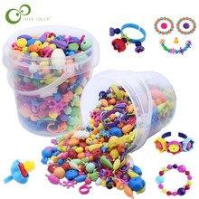 Perles acryliques colorées pour fille, ensemble de Puzzle, jouet, collier, Bracelet, ficelle, fait à la main, cadeau pour enfants, ZXH