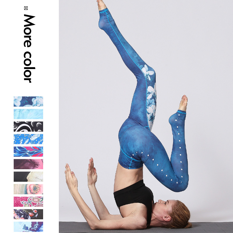 New Water Lily Minium Blue 3D Printed Push Up Tights Fitness Women Jogging GYM Yoga Pants Femme Sport Leggings Sport Tights