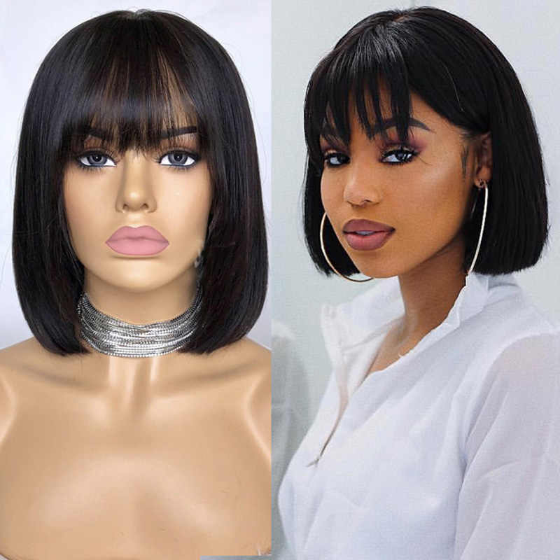 Mstoxic Short Bob Straight Human Hair Wigs With Bangs Brazilian Full Machine Made Wig Remy hair