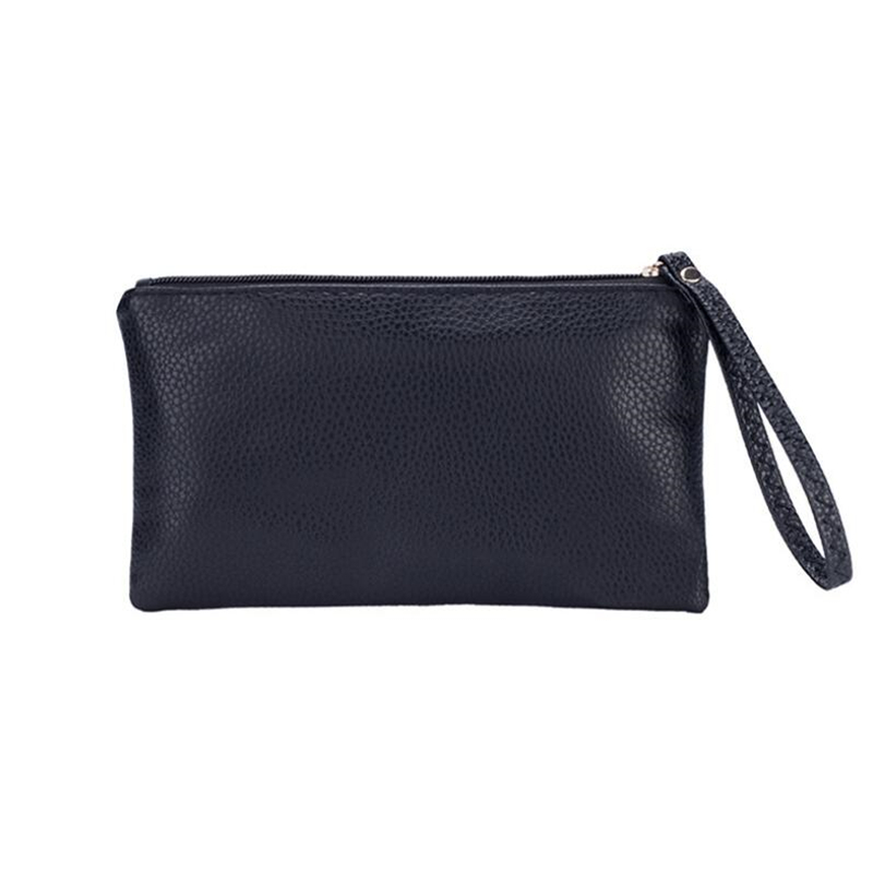 LKEEP Solid Simple Men Women Wallets PU Leather Bag Zipper Clutch Coin Purse Phone Wristlet Portable Handbag For Party Shopping