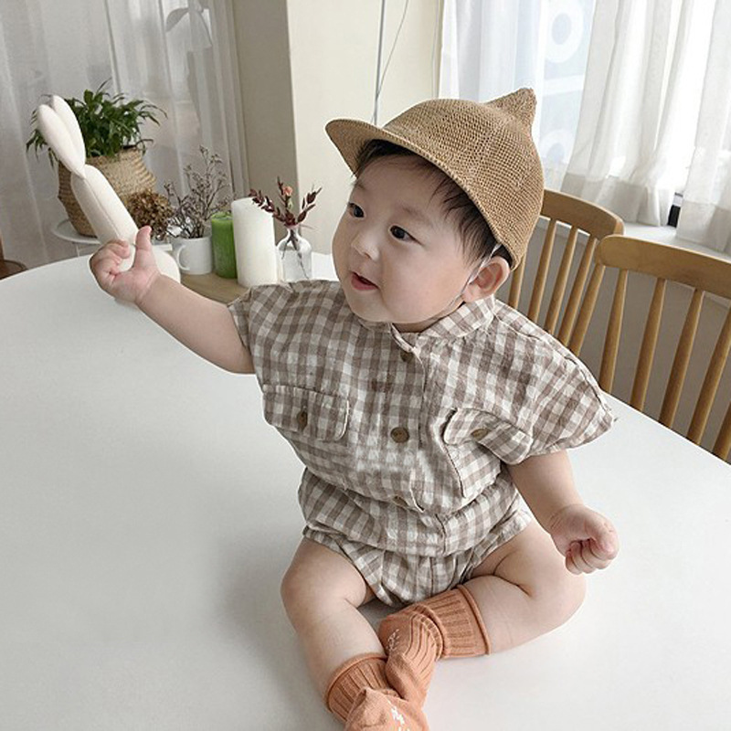 MILANCEL summer baby boys clothes pure cotton tee tops and bloomer infant girls clothes set