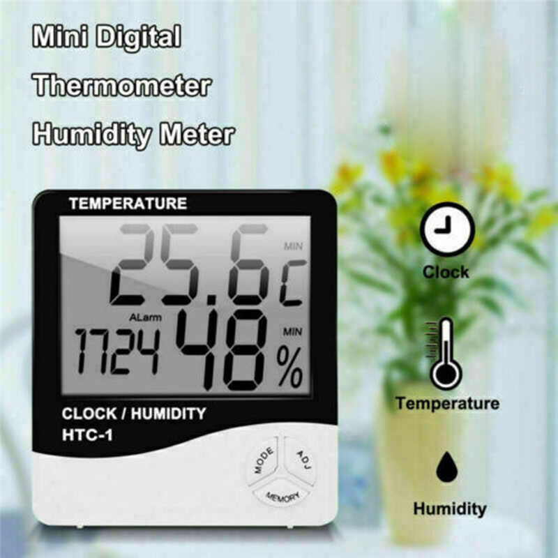 Indoor Thermometer Hygrometer Electronic Digital LCD C/F Temperature Humidity Meter Alarm Clock Weather Station Bedroom Home