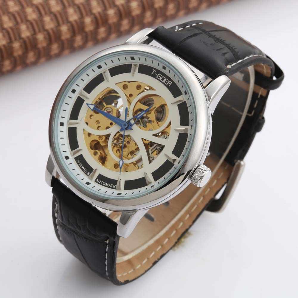 GOER นาฬิกาแบรนด์หรูผู้ชายอัตโนมัตินาฬิกาข้อมือแฟชั่นนาฬิกาโครงกระดูกนาฬิกาผู้ชายหนัง relogio masculino